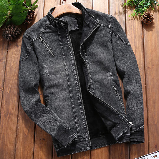 Winter plus velvet men's denim jacket Slim casual jacket youth tide brand stand collar denim clothing handsome men's clothing