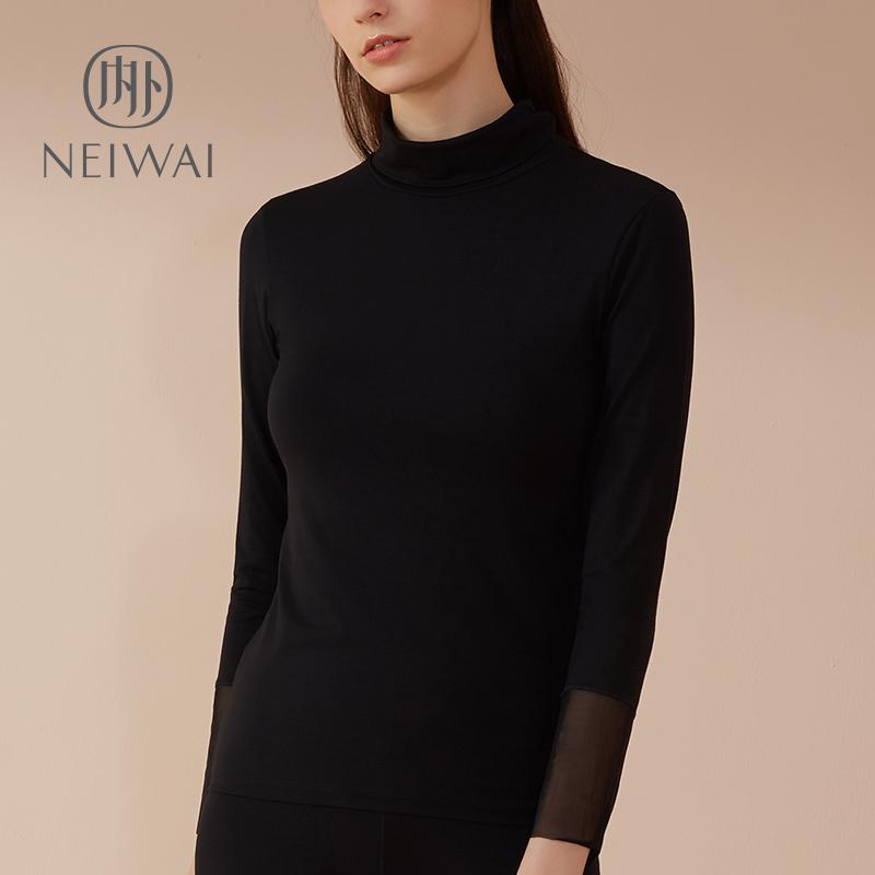 NEIWAI bên trong và bên ngoài Snug cao cổ áo ấm áo sơ mi dài tay mùa thu và mùa đông gần-fitting áo sơ mi bên trong áo sơ mi màu đen mỏng