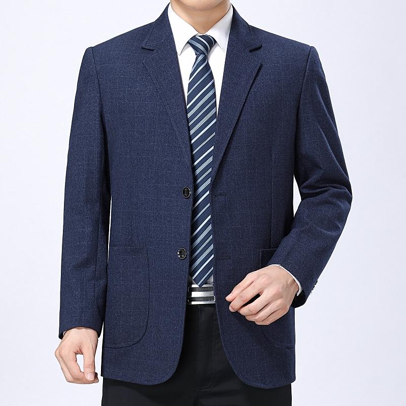 春秋新款中年v男士男士西装单件外套便西单西男中老年上衣西服商务