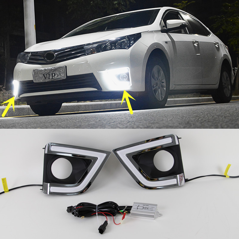 1 Pair White Led Daytime Fog Light Drl Light For Toyota Corolla 2014 2015 Ebay