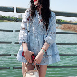 Wawa Shan T-shirt Korean version of sweet wild Western style loose openwork crochet lace commuter solid color Sleeve