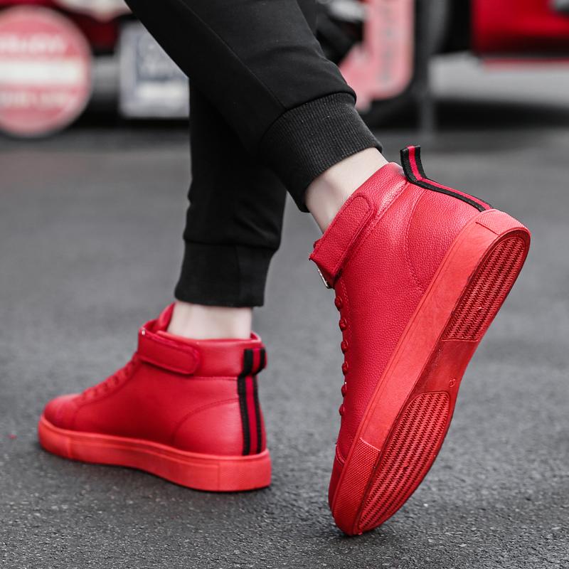 秋季韩版潮流高帮鞋男板鞋百搭社会小伙潮男鞋子红色中高邦休闲鞋
