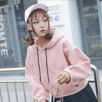 College pink sweater female plus velvet autumn and winter influx of students loose hooded short paragraph Korean version of the new ins