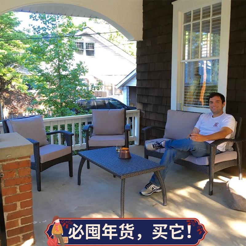 Nội thất ngoài trời wicker ghế sân ban công sofa nhỏ kết hợp ba mảnh ngoài trời phòng khách học giải trí sofa mây - Bàn ghế ngoài trời / sân