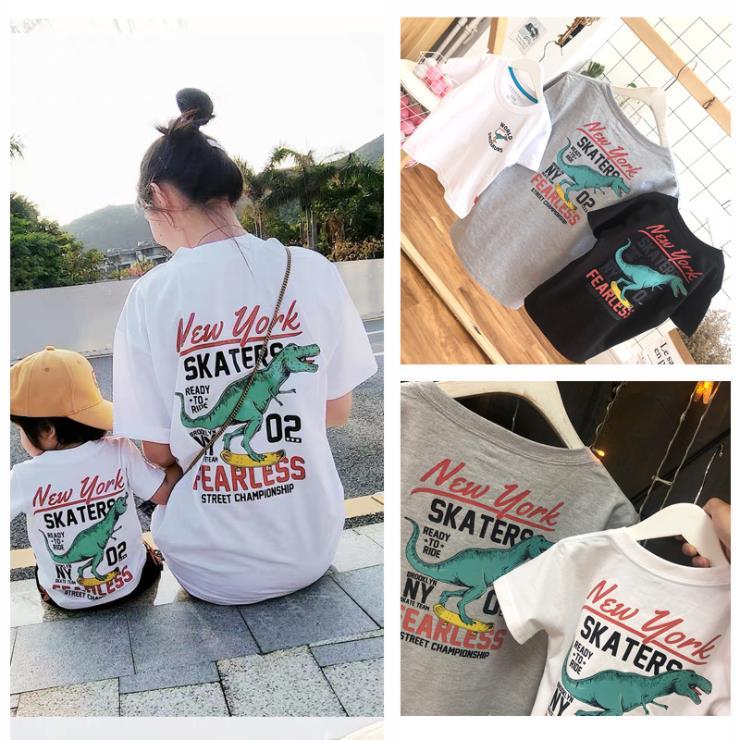 19夏装爆款韩版卡通大恐龙纯棉儿童短袖t恤一家三口亲子装家庭装