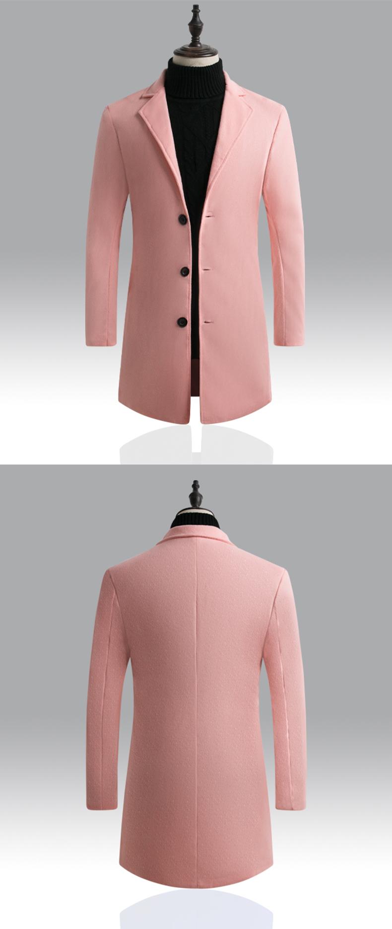 2019秋冬男士毛呢大衣韩版修身中长款风衣外套大量备货 D67 P40