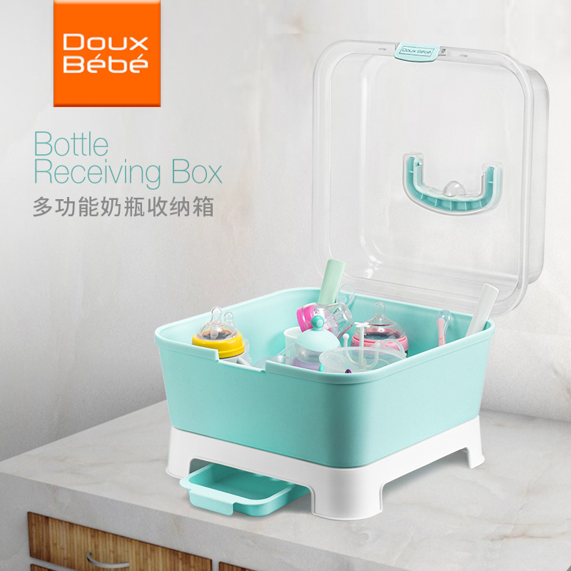 British Douxbebe Bottle Storage Box Baby Storage Drying Rack Baby With  Cover Dust Box Baby Supplies