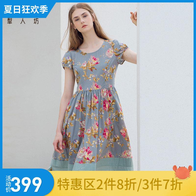 犁人坊连衣裙女2019夏季新款复古短袖修身收腰圆领过膝中长款裙子