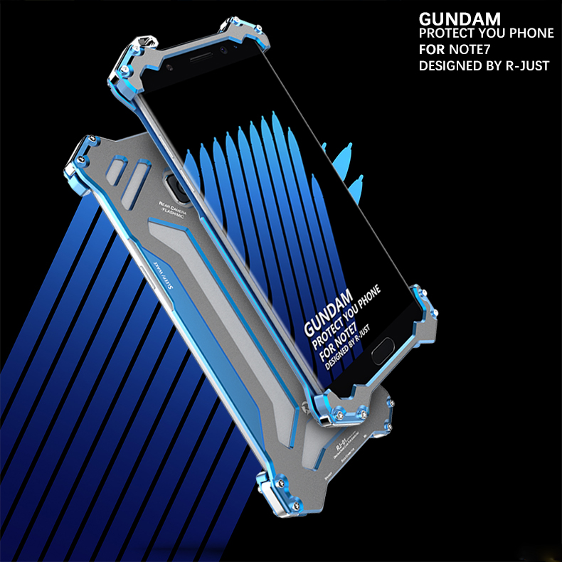 R-JUST GUNDAM Aluminum Alloy Double Color Oxidation Metal Protective Case for Samsung Galaxy Note 7 N9300