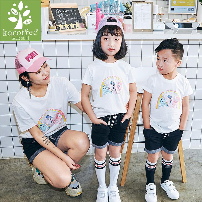 【韩国KK树】款潮纯棉彩虹小马亲子T恤-优惠价10元销量217件
