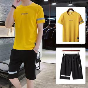 2020夏季新款套装男韩版潮流个性休闲短袖T恤五分裤青年两件套男
