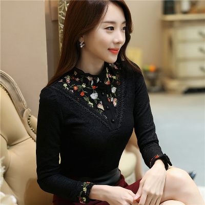 2017 autumn and winter plus velvet thickening lace shirt women Korean version of the shirt wild warm collar long-sleeved shirt shirt
