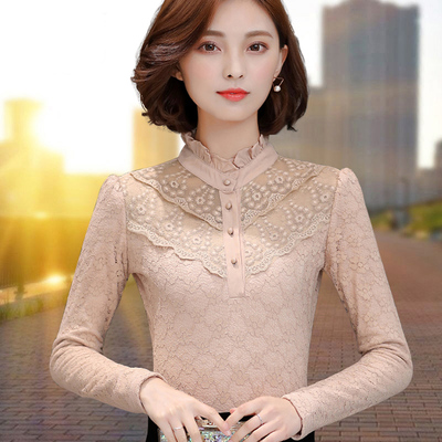 2017 autumn and winter new fashion plus velvet thick long-sleeved wild warm lace shirt women's shirt