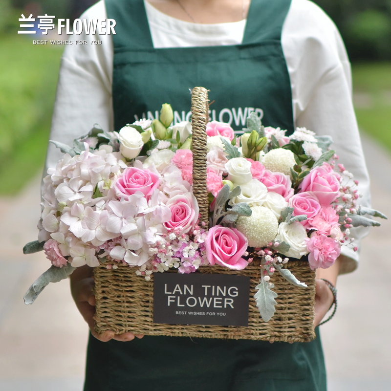 Changsha Flower Shop Delivery With The City Rose Hydrangea High End Flowers Basket Valentines Day Girlfriend Birthday