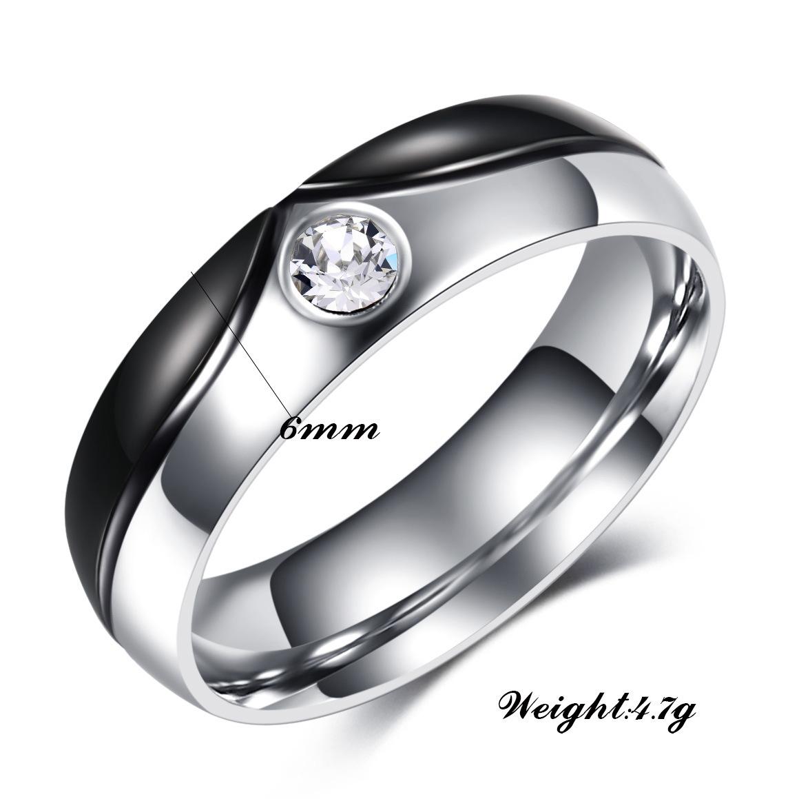 中國代購 中國批發-ibuy99 新款钛钢情侣戒指不锈钢微镶锆石戒指韩版首饰戒指