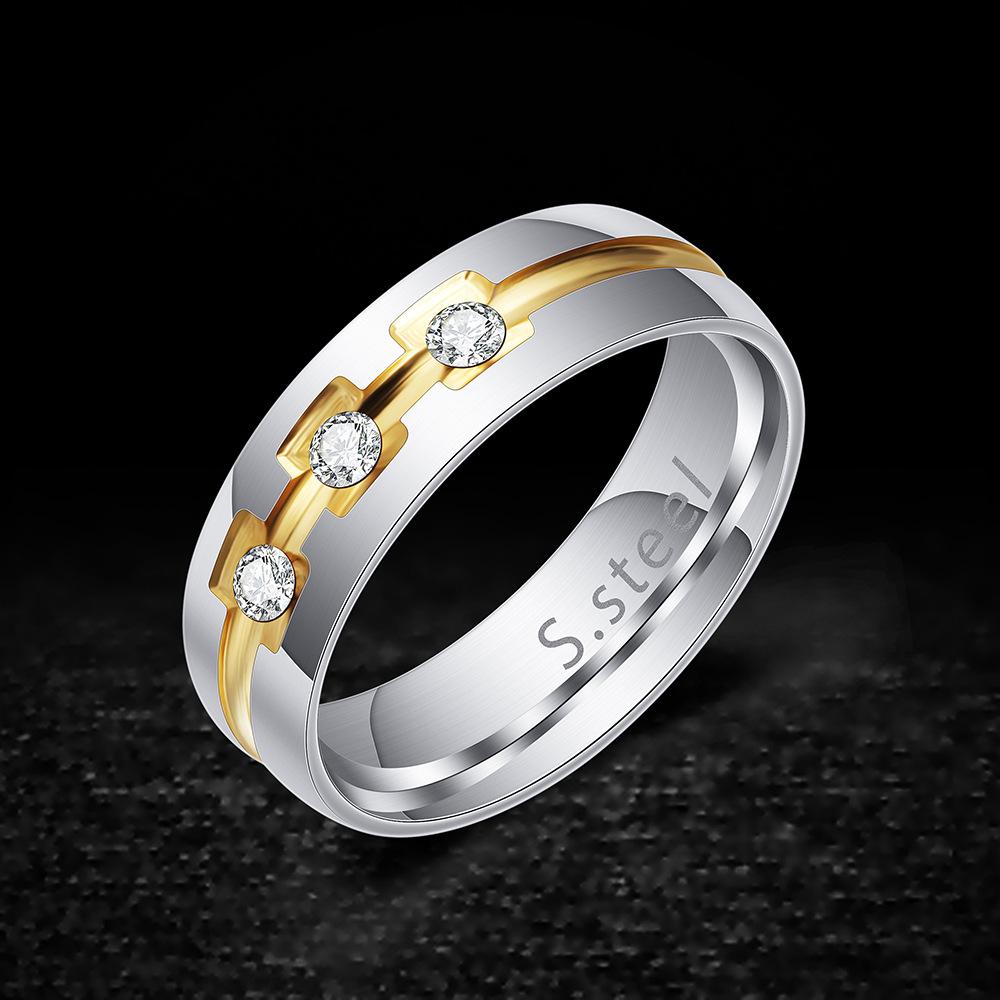 中國代購|中國批發-ibuy99|韩版Ins风时尚个性镶钻金银双色电镀钛钢戒指男士指环