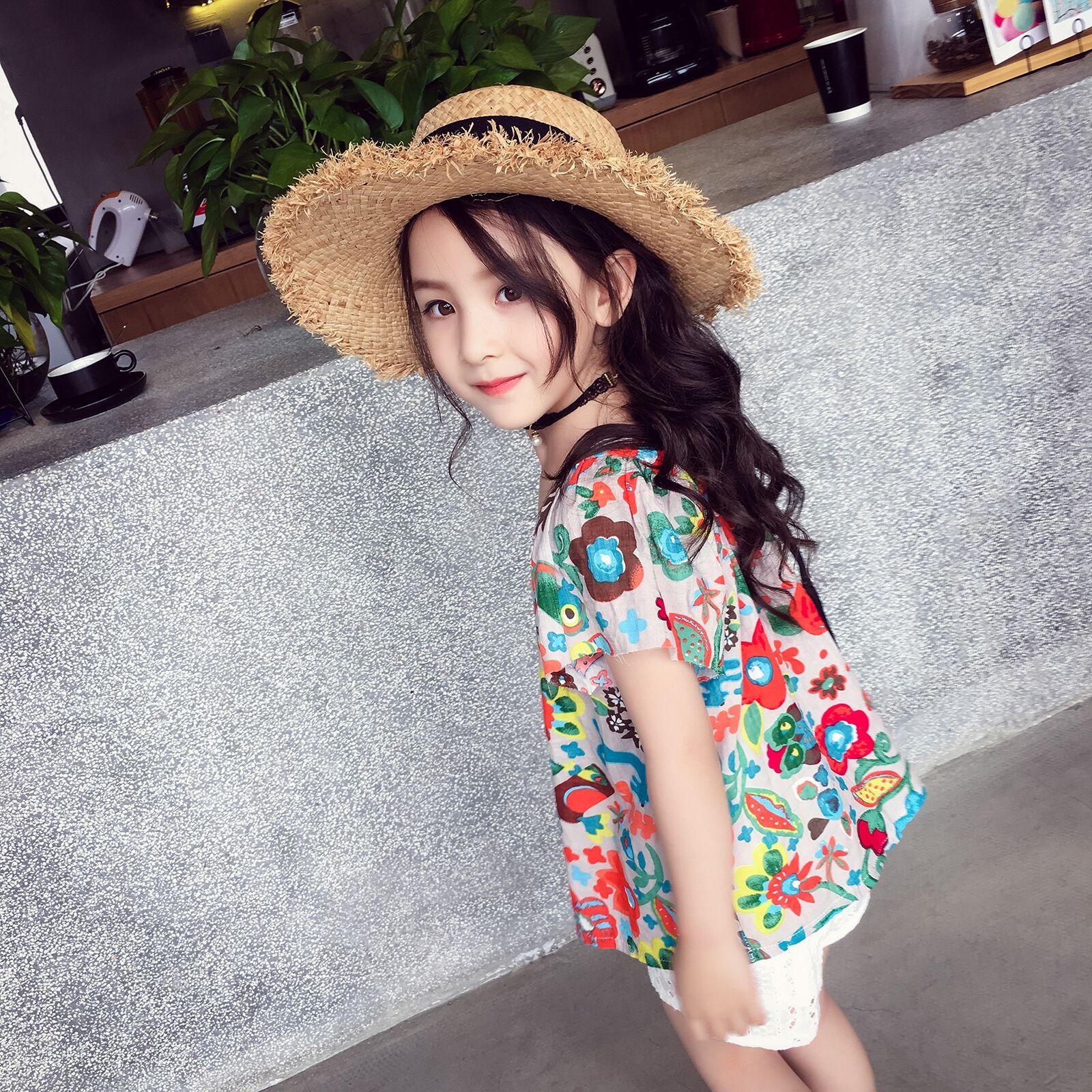 4c0b3538409 Girls short-sleeved shirt summer 2018 new beach holiday children s clothing  children s clothing casual bottoming shirt thin