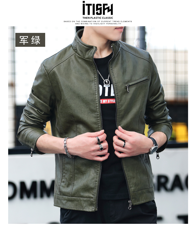 Men's leather 2020 autumn/winter new leather jacket handsome big size locomotive clothes trend a hundred men's jackets 50 Online shopping Bangladesh