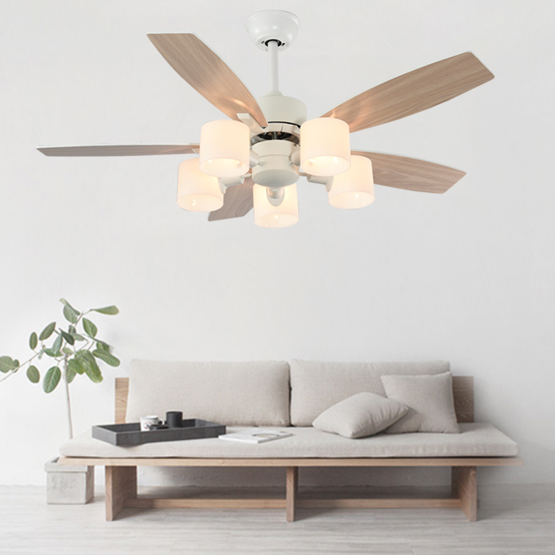 Anese Style White Ceiling Fan Lamp Modern Wood Leaf Mute Nordic Dining Room
