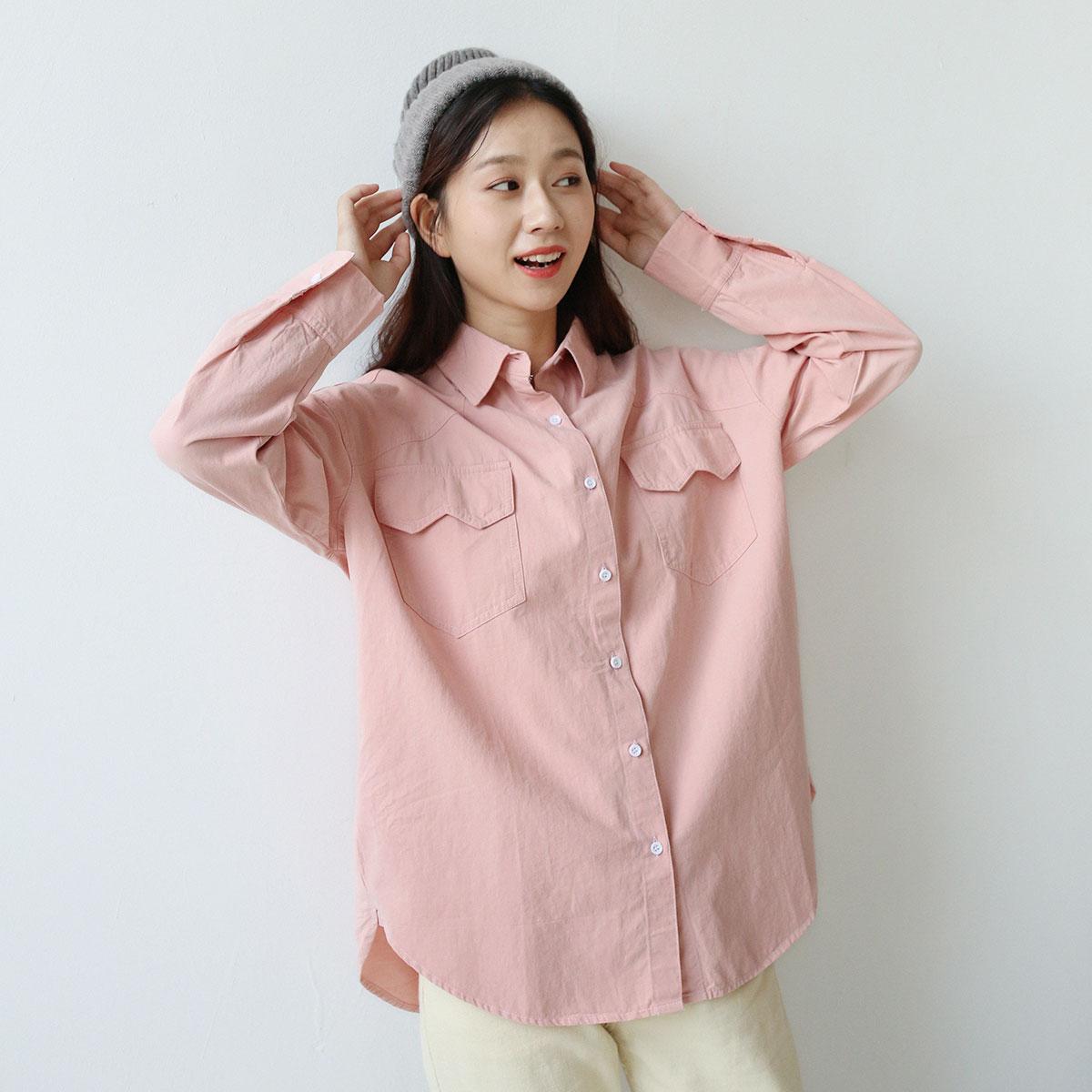 三木社/文艺小清新粉色polo长袖衬衫学生上衣女ins早秋新品薄外套