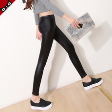 Leather pants women were thin outside wear slim plus velvet thick large size Korean version of nine points imitation leather pants autumn and winter pants trousers leggings
