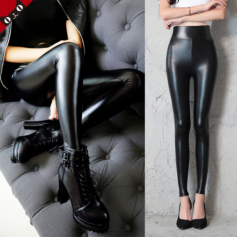 8e0f8f1159 PU leather pants women plus cashmere large size autumn and winter Korean trousers  high waist imitation leather leggings wear slim thin feet pants