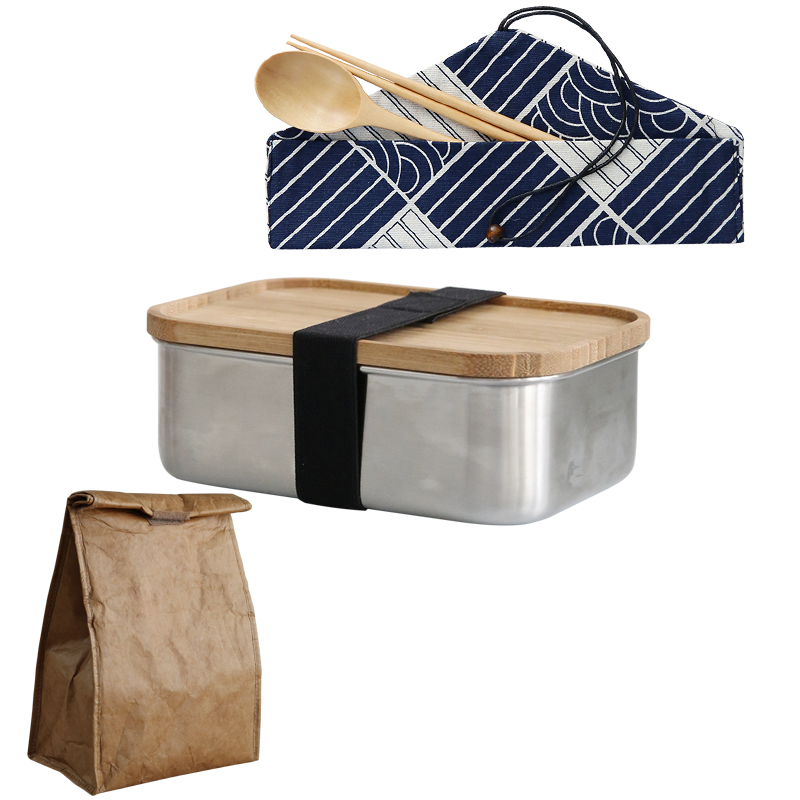 Lunch box + cutlery set + DuPont paper insulation bag