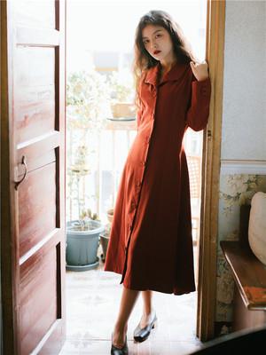 秋装年新款法式复古长袖翻领连衣裙收腰显瘦气质中长款桔梗裙