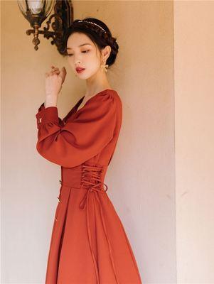 2020春季新款法式复古长袖少女连衣裙收腰显瘦气质仙女超仙森系