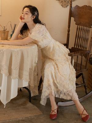 夏季新款复古法式小众连衣裙仙女超仙甜美海边度假沙滩长裙