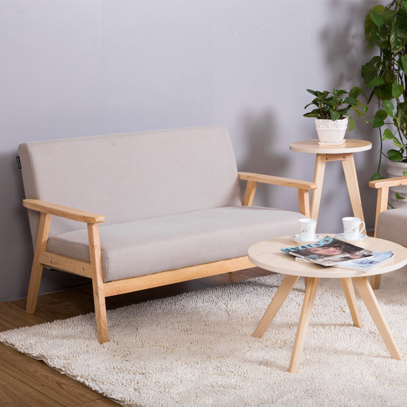 Nordic wood single double three simple Japanese style sofa chair ...