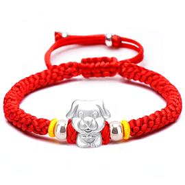 生肖纯银红绳好运编织手链