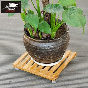 家庭园艺花盆底座滚轮移动托盘带轮托盘架花托木质移动花架