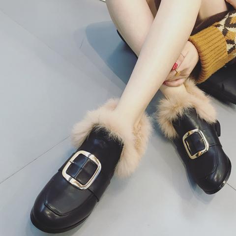 粗跟狐狸毛加绒保暖棉鞋