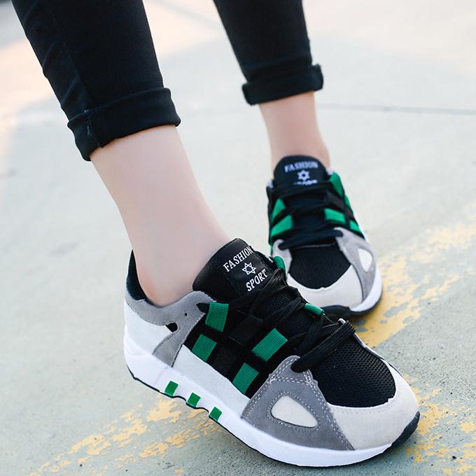 拼色增高系带运动鞋