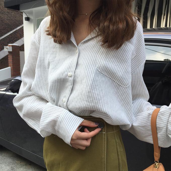 经典竖条纹宽松衬衫棉麻女衬衣
