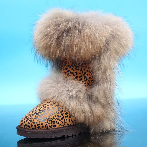 女狐狸毛中筒真皮雪地靴