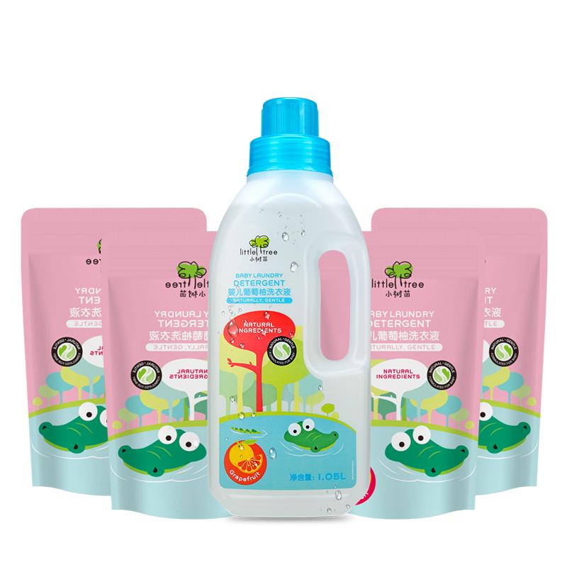 英国mumii入选大奖 Little Tree 小树苗 婴儿葡萄柚洗衣液1050ml+300mlx4袋