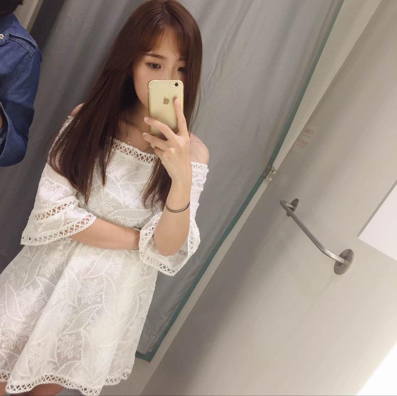 一字领露肩白色蕾丝镂空连衣裙女中长款收腰裙子2016夏装新款女装
