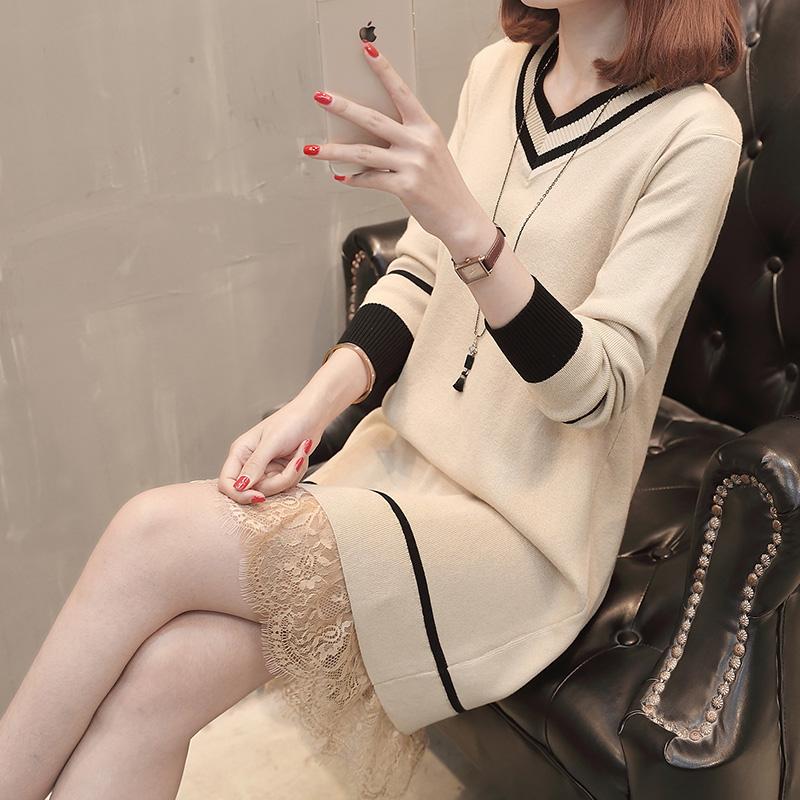 春装2018新款女韩版蕾丝连衣裙中长款针织衫修身毛衣裙早春外套潮