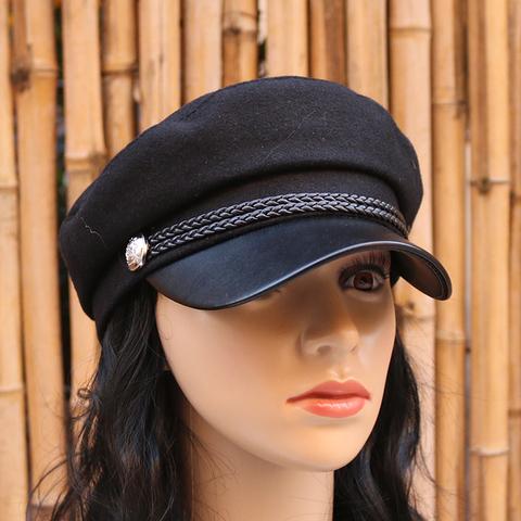贝雷帽女秋冬英伦复古毛呢平顶帽子鸭舌帽海军帽南瓜帽报童画家帽