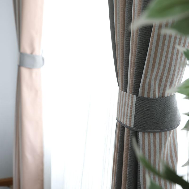 北欧莫兰迪定制窗帘成品 灰色脏粉色条纹客厅卧室遮光帘美式ins风
