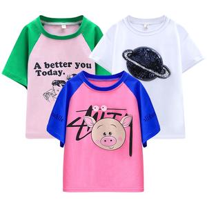 女童短袖t恤2019新款夏装儿童纯棉短袖夏季女宝宝t恤小女孩潮童装