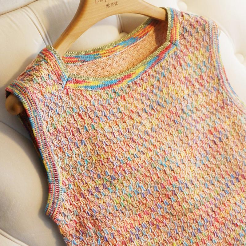 小无袖19夏季背心宋轶同款编织彩线方领针织女装香风裙针织连衣裙