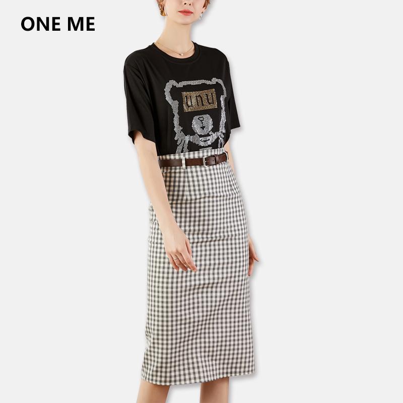 Bộ đồ kiểm tra váy retro phù hợp với áo hai dây nữ thiết kế mùa hè + thắt lưng cao giữa váy phù hợp - Bộ đồ