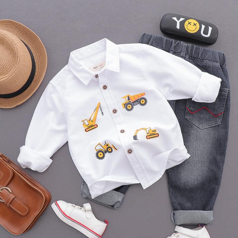 Áo sơ mi cotton dài tay cho trẻ em 2019 mùa xuân và mùa thu áo mới cho bé phim hoạt hình xe cotton - Áo sơ mi