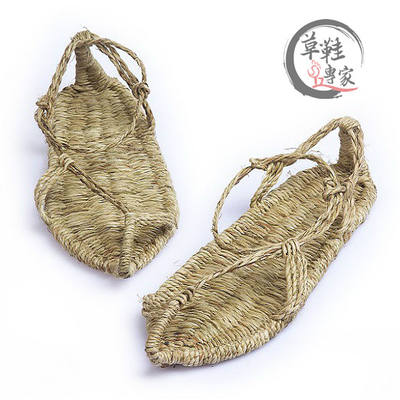 Pure hand-woven straw shoes tide male summer tie personality retro sandals straw red army show general hemp slippers
