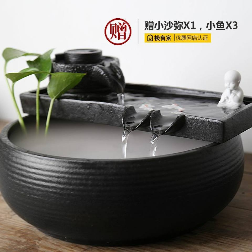 Ceramic Water Ornaments Office desktop fountain living room wind turbine recruit money humidifier aquarium small gift Zen Meaning