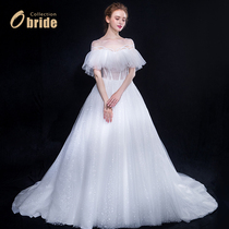 Sen Department of a word shoulder wedding 2018 new dress out thin tail light