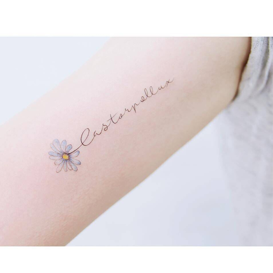 99a0527df2368 New tattoo stickers waterproof men and women Japan and South Korea lasting  literary small fresh collarbone color English Chrysanthemum sexy temptation